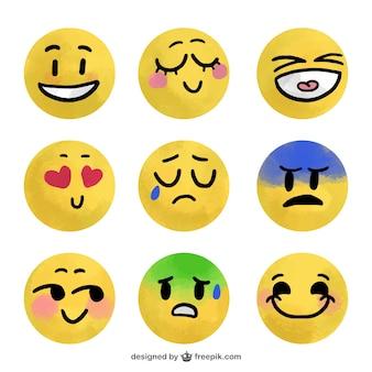 Aquarelle emoji ensemble