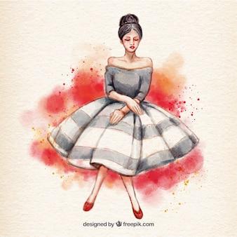 Aquarelle Femme avec robe