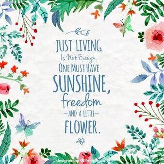Aquarelle floral avec une citation inspirée