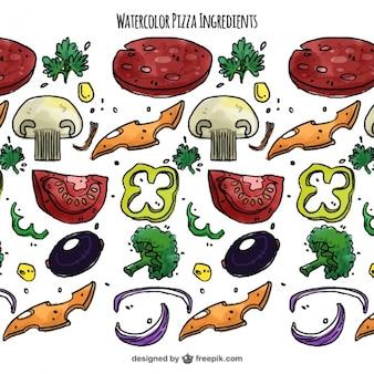 Aquarelle fond d'ingrédients pour la pizza