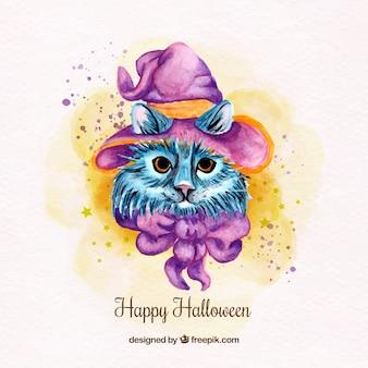 Aquarelle fond de chat avec chapeau de sorcière