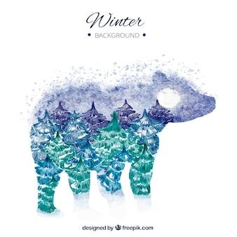 Aquarelle fond de paysage dans une silhouette d'ours