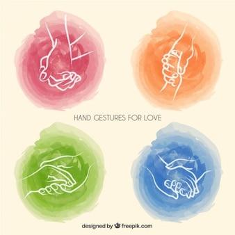 Aquarelle gestes de la main