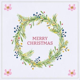 Aquarelle guirlande de Noël plante poinsettia, arbre, baies