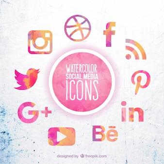 Aquarelle icônes de médias sociaux