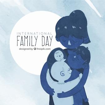 Aquarelle, jour de la famille, fond en tons bleus