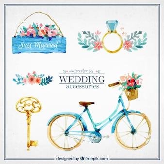Aquarelle mignons accessoires de mariage