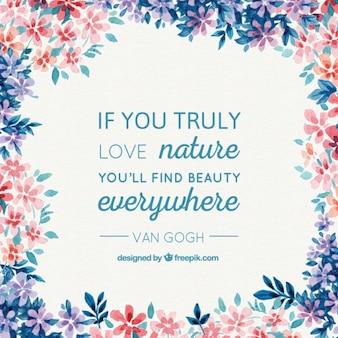 Aquarelle nature de fond avec une citation Van Gogh