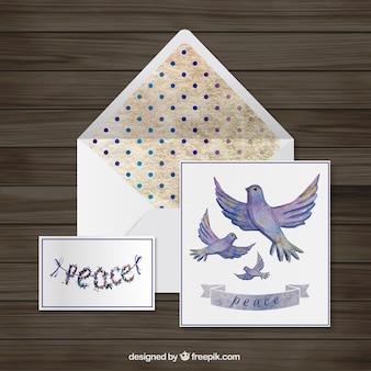 Aquarelle paix carte de voeux