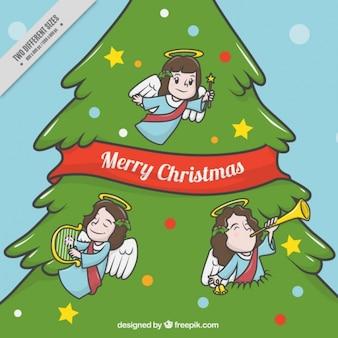 Arbre de Noël de fond avec des anges ornements