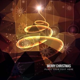 Arbre de Noël spirale sur fond polygonale