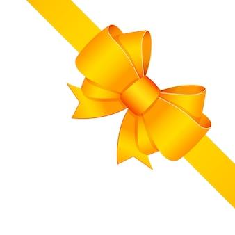 Arbre décoratif jaune avec ruban isolé