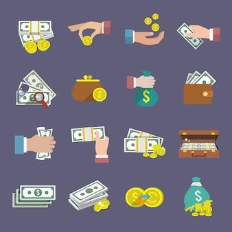 Argent monnaie et papier espèces icône plat ensemble isolé illustration vectorielle