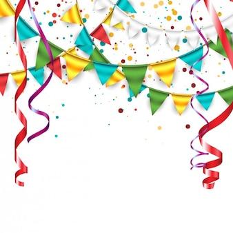 Arrière-plan avec des confettis, des guirlandes et banderoles