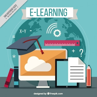 Arrière-plan avec des éléments d'apprentissage en ligne dans la conception plate