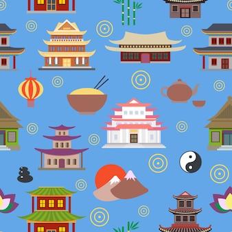Arrière-plan avec des maisons orientales