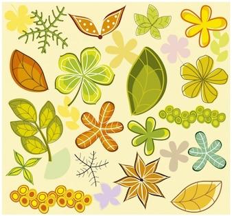 Arrière-plan avec feuilles et les fleurs