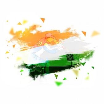 Arrière-plan avec le drapeau de l'Inde et batteur