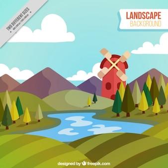 Arrière-plan avec moulin et lac