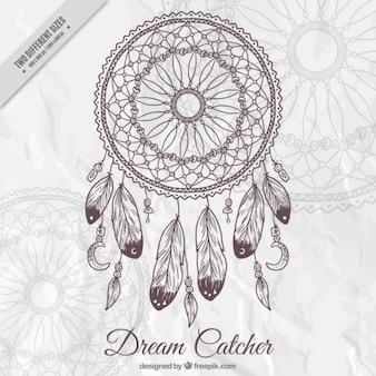 Arrière-plan avec un capteur de rêves dessiné à la main décorative