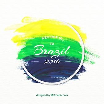 Arrière-plan de brazil 2016 coups de pinceau