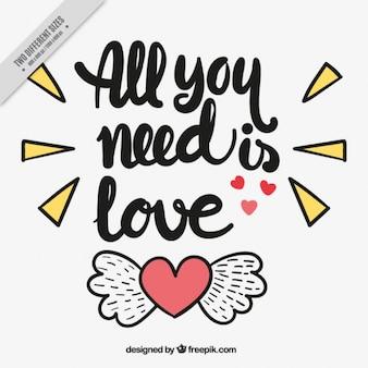 Arrière-plan de coeur avec des ailes et des phrases d'amour