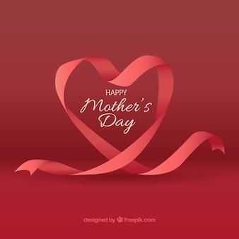 Arrière-plan de forme de coeur avec ruban pour le jour de la mère