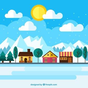 Arrière-plan de jolies maisons dans le paysage d'hiver