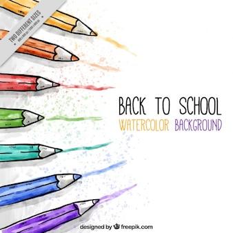 Arrière-plan de l'aquarelle crayons de couleur