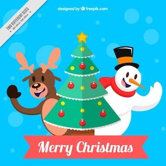 Arrière-plan de personnages mignons avec arbre de Noël
