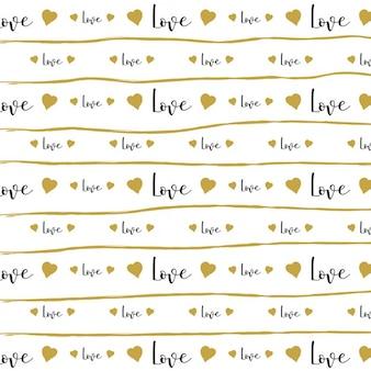 Arrière-plan décoratif avec le mot amour et des lignes dessinées à la main