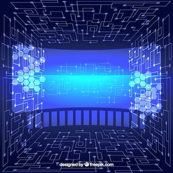 Arrière-plan technologique abstrait virtuel