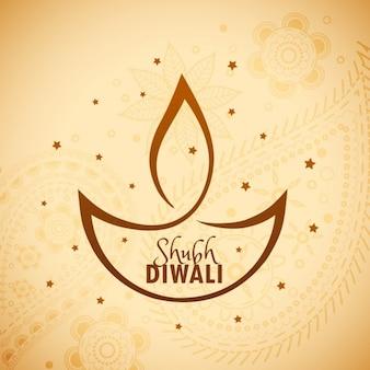 Artistique diya diwali avec des étoiles