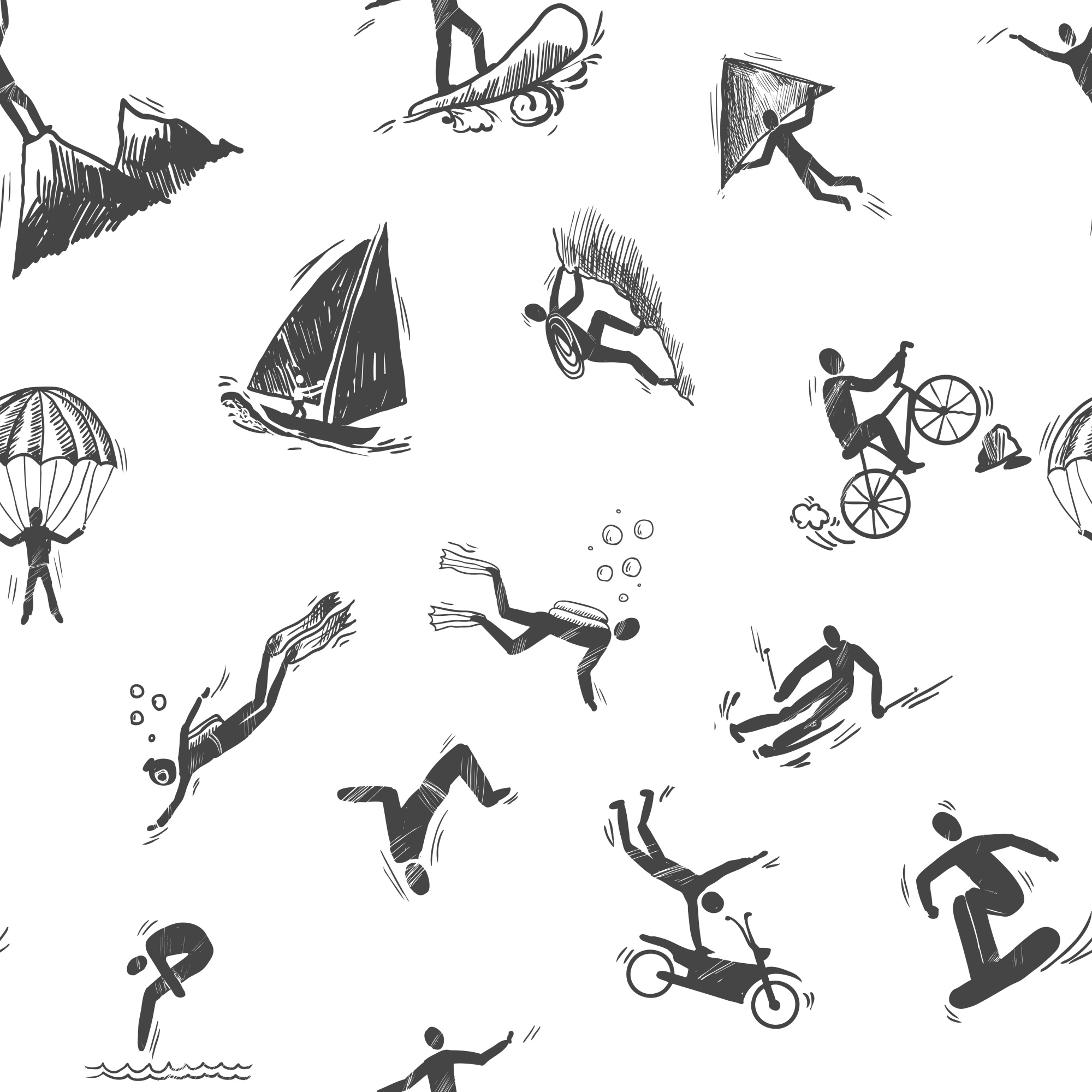Aspect sportif extrême sketch seamless pattern of snorkeling surfing climbing illustration vectorielle.