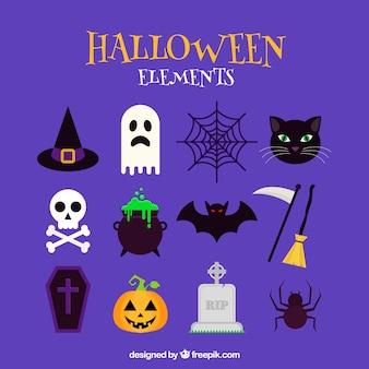 Assortiment d'éléments de halloween en design plat