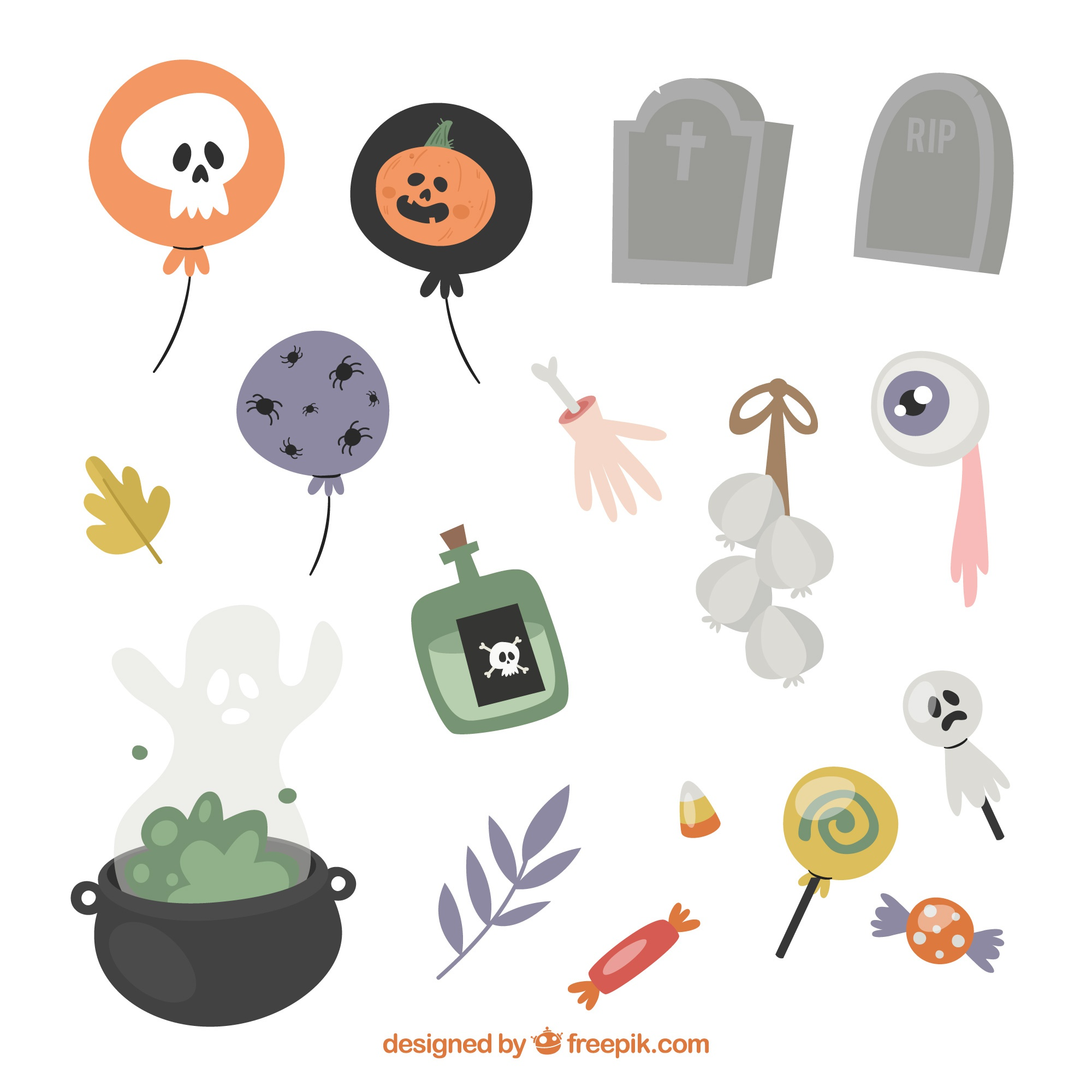 Assortiment d'éléments de halloween