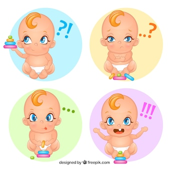 Assortiment de bébé mignon avec des visages expressifs
