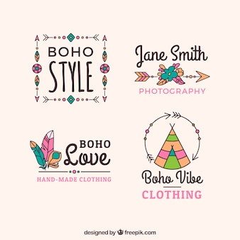 Assortiment de logos boho avec de grands dessins
