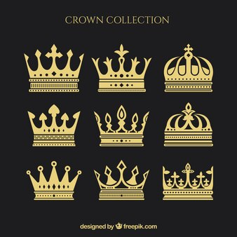 Assortiment de neuf couronnes en conception plate