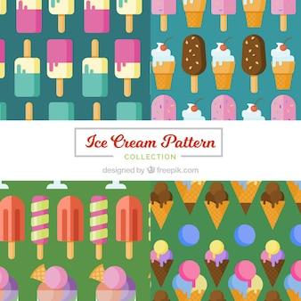 Assortiment plat de glaces colorées