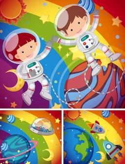 Astronautes volant dans le ciel arc-en-ciel