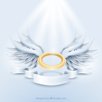 Auréole d'or et ailes blanches