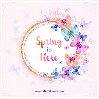 Autocollant de printemps avec des papillons à l'aquarelle