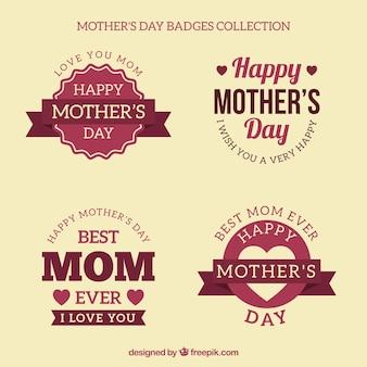 Autocollants jour de mère de décoration rétro
