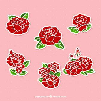 Autocollants roses dessinés à la main