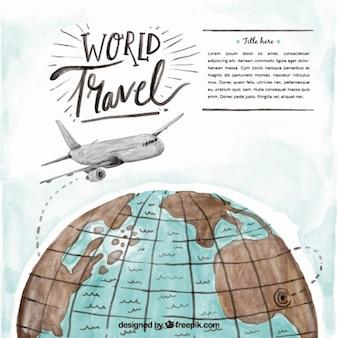 avion Aquarelle sur le fond du monde