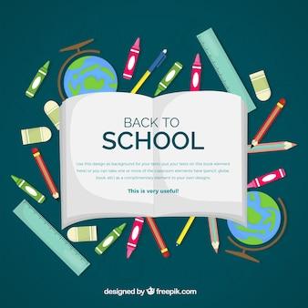 Back to fond de l'école avec un livre ouvert