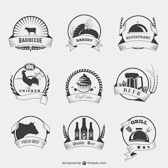 Badges alimentaires dans le style rétro