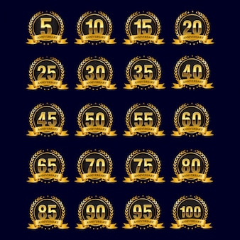 Badges d'anniversaire d'or