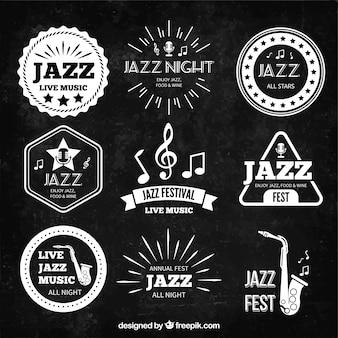 Badges rétro de musique de jazz